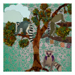 King Jullian & Lemurs Out On A Limb Green Damask P Posters