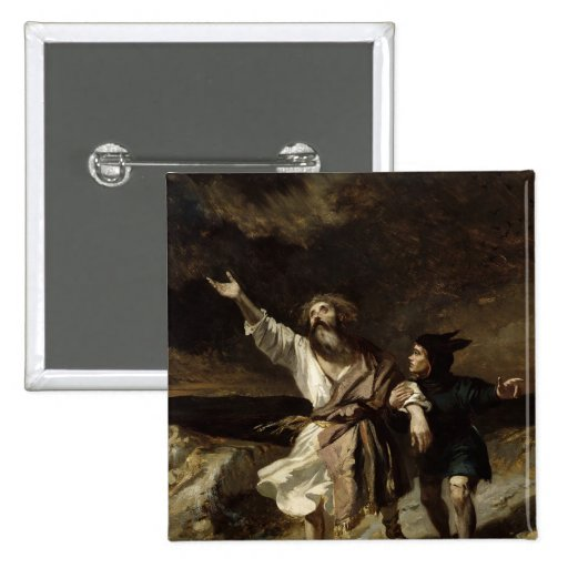King Lear and the Fool in the Storm Pinback Button