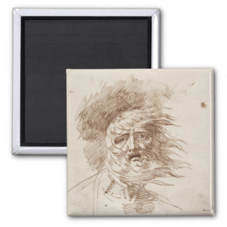 King Lear in the Storm (pen and bistre ink on pape Square Magnet