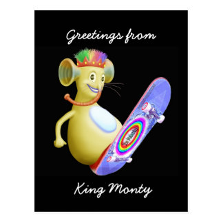 King Monty on Skate Board Postcard