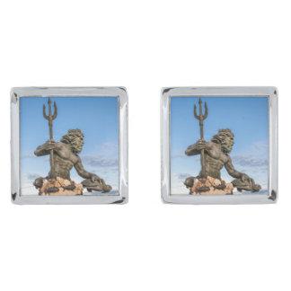 King Neptune Statue Silver Finish Cufflinks