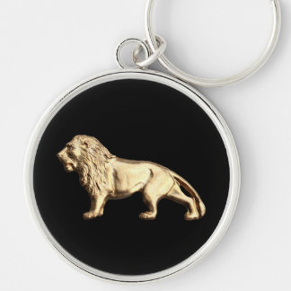 King of Beasts Silver-Colored Round Key Ring