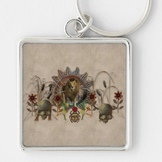 King Of Beasts Silver-Colored Square Key Ring