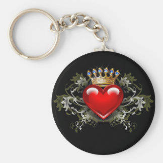 King of Hearts Basic Round Button Key Ring
