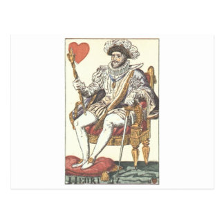 KING OF HEARTS - HENRI IV Vintage Print Playing Ca Postcard