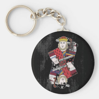 King Of Hearts & Pirate Too Basic Round Button Key Ring