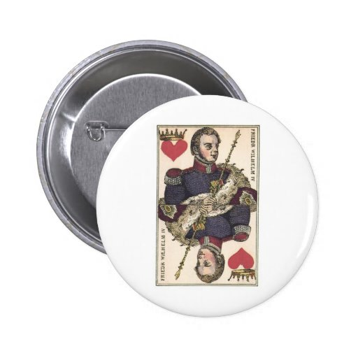 KING OF HEARTS Vintage Print Friedr Wilhelm IV Buttons