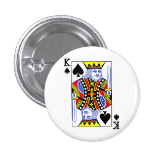 King of Spades Playing Card 3 Cm Round Badge
