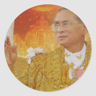King of thailand round stickers