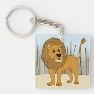 King of the Beast - Lion Single-Sided Square Acrylic Key Ring