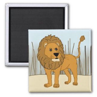 King of the Beast - Lion Square Magnet
