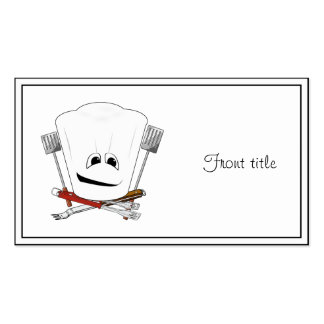 King of the Grill with Chef Hat and BBQ Tools Business Card Templates