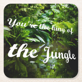 King of the jungle square paper coaster