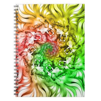 King of the Lion Pride Mandala Circle Rastafarian Notebook