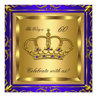 King or Queen Royal Blue Gold Birthday Party 2 13 Cm X 13 Cm Square Invitation Card
