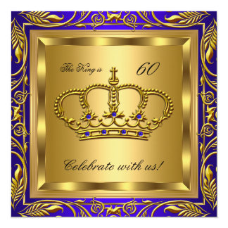 "King or Queen Royal Blue Gold Birthday Party 5.25"" Square Invitation Card"