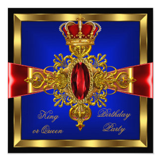 King or Queen Royal Blue Red Birthday Party 2 13 Cm X 13 Cm Square Invitation Card