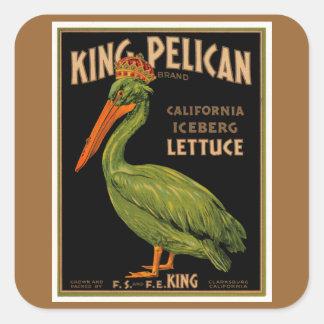 King Pelican Brand Lettuce Square Sticker