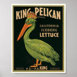 King Pelican Lettuce Vintage Crate Label Print