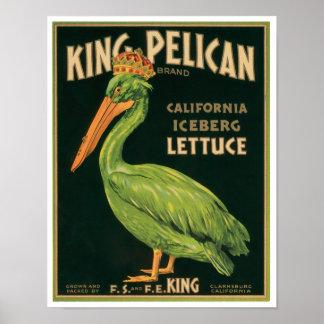 King Pelican Lettuce Vintage Vegetable Label Poster