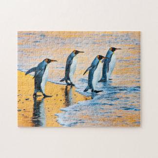 King penguins at sunrise jigsaw puzzle