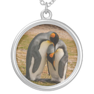 King penguins caressing, Falkland Silver Plated Necklace