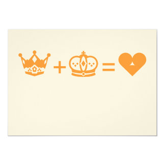 king plus queen equals love 13 cm x 18 cm invitation card