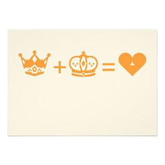 king plus queen equals love custom invitations