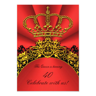 "King Queen Gold Royal Regal Red Birthday Party 5"" X 7"" Invitation Card"