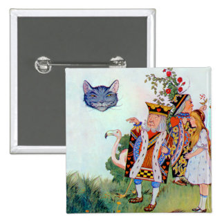 King & Queen of Hearts, Alice & the Cheshire Cat 15 Cm Square Badge