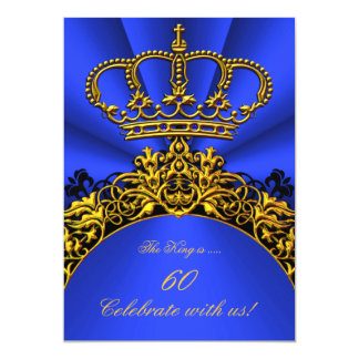 "King Regal Queen Gold Royal Blue Birthday Party 3 5"" X 7"" Invitation Card"