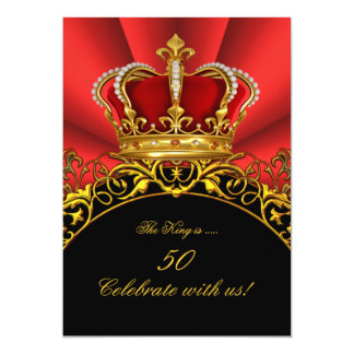 "King Regal Red Queen Gold Royal Birthday Party 2 5"" X 7"" Invitation Card"