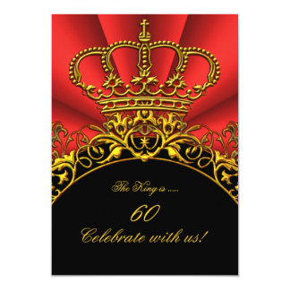 "King Regal Red Queen Gold Royal Birthday Party 5"" X 7"" Invitation Card"