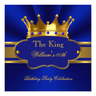 King Royal Blue Gold Birthday Party Mens Mans Card