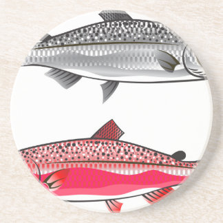 King Salmon. Silver and Spawning. Beverage Coasters