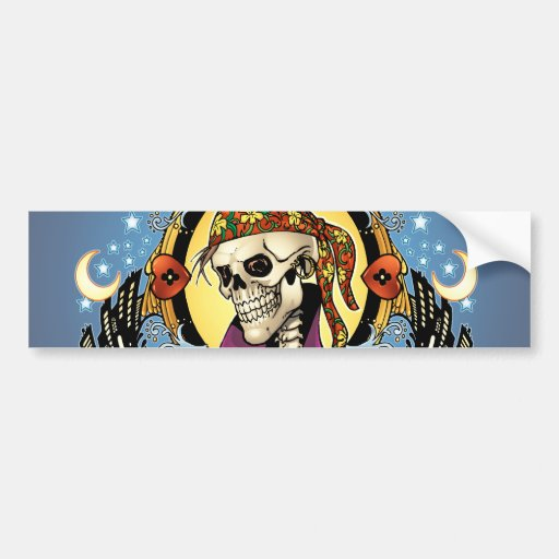 King Skull Pirate with Hearts by Al Rio Bumper Stickers