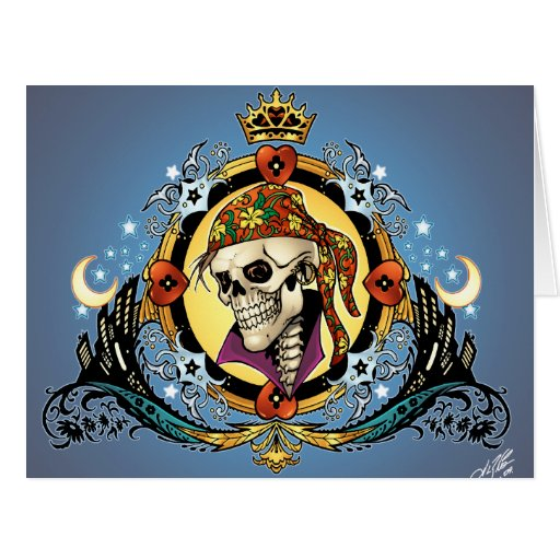 King Skull Pirate with Hearts by Al Rio Greeting Cards