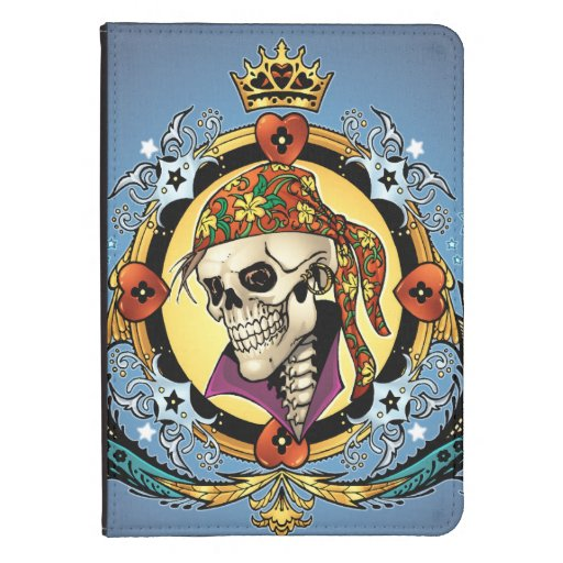 King Skull Pirate with Hearts by Al Rio Kindle Touch Cover