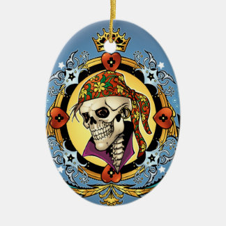 King Skull Pirate with Hearts by Al Rio Ceramic Oval Decoration