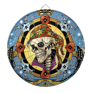King Skull Pirate with Hearts by Al Rio Dartboard