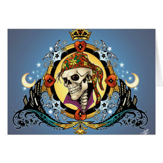 King Skull Pirate with Hearts by Al Rio Greeting Card