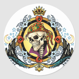 King Skull Pirate with Hearts by Al Rio Round Sticker