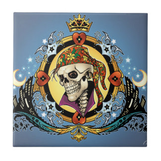 King Skull Pirate with Hearts by Al Rio Small Square Tile