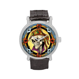 King Skull Pirate with Hearts by Al Rio Watch