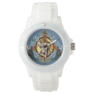 King Skull Pirate with Hearts by Al Rio Wrist Watch