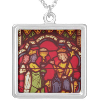 King Solomon and the Queen of Sheba, c.1270 Silver Plated Necklace