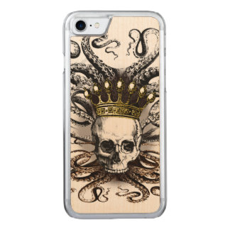 King Squid Skull Wood Carved iPhone 8/7 Case