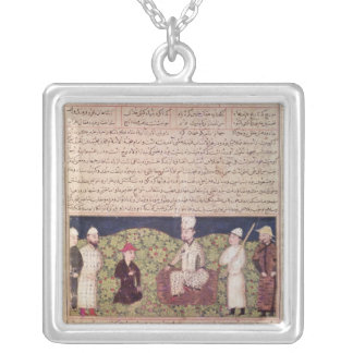 King surrounded by courtiers silver plated necklace