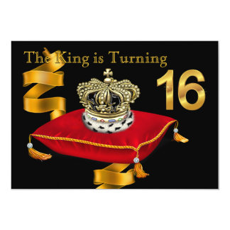 King Theme 16th Birthday Party Card