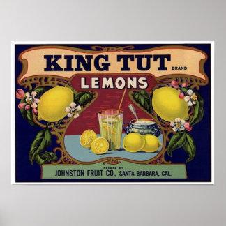 King Tut Brand Lemons Crate Label Poster